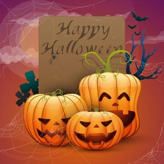 Wesołego halloween, świąteczne dynie, pajęczyny, nietoperze. gotowa karta do projektu
