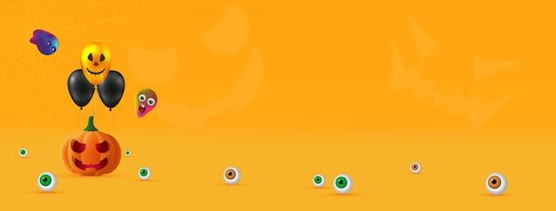 Wesołego halloween. świąteczne tło z realistycznymi 3d pomarańczowymi dyniami z wyciętym przerażającym uśmiechem, balonami z helem i duchami. świąteczny plakat, ulotka, broszura i szablon okładki. ilustracja wektorowa