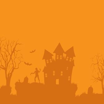 Wesołego halloween. wektor transparent halloween z zombie, domem i cmentarzem