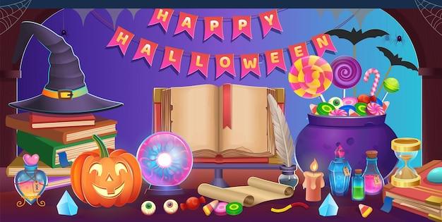 Wesołego halloween. wnętrze pokoju halloween z drzwiami, kocioł, dynie, cukierki, kapelusz, magiczna kula, otwarta książka, klepsydra, stalówka pióra, stos książek. tło dla gier i aplikacji mobilnych.