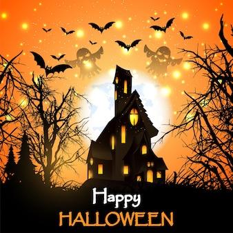 Wesołego halloween z domem na czacie, dyniami i nietoperzami.