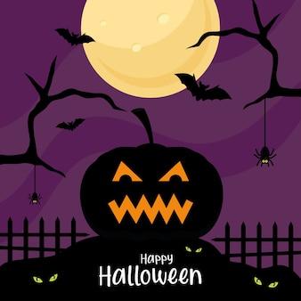 Wesołego halloween z dyniową kreskówką z drzewem i nietoperzami, wakacjami i przerażającym motywem.