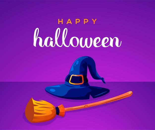 Wesołego halloween z kapeluszem czarownicy i miotłą czarownicy