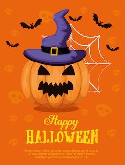 Wesołego halloween z kapeluszem dyni i czarownicy
