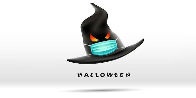 Wesołego halloween z kapeluszem wiedźmy w masce chroniącej przed koronawirusem lub covid19