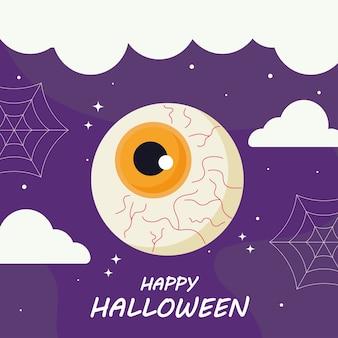 Wesołego halloween z kreskówki oko, wakacje i przerażający motyw.