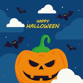 Wesołego halloween z kreskówkowym projektem dyni, wakacyjnym i przerażającym motywem.