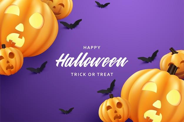 Wesołego halloween z przerażającą dynią na płaskiej konstrukcji na fioletowym tle