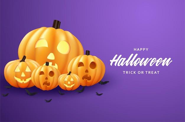 Wesołego halloween z przerażającą dynią na płaskiej konstrukcji