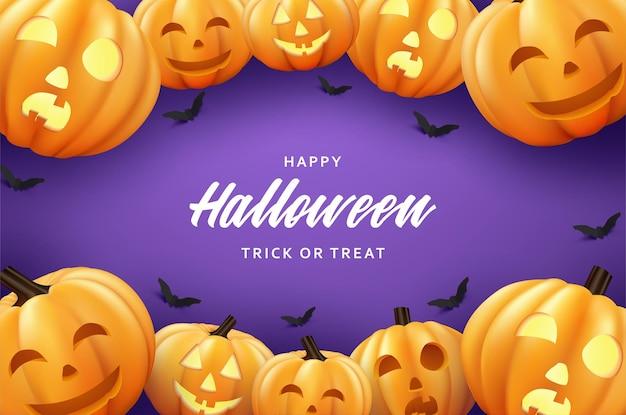 Wesołego halloween z przerażającymi i roześmianymi dyniami