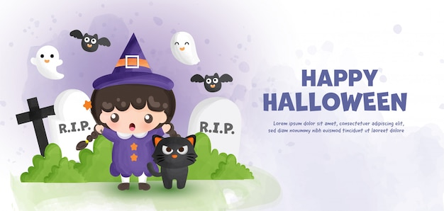 Wesołego halloween z uroczą czarownicą i czarnym kotem w stylu akwareli.