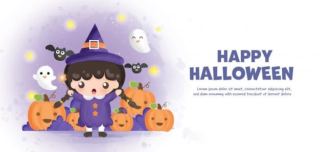 Wesołego halloween z uroczą czarownicą i dyniami w stylu akwareli.