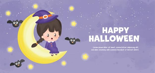 Wesołego halloween z uroczą czarownicą w stylu akwareli.