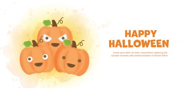 Wesołego halloween z uroczymi dyniami w stylu akwareli.
