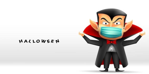 Wesołego halloween z wampirem draculą noszącym maskę chroniącą przed koronawirusem lub covid19