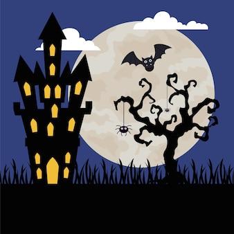 Wesołego halloween z zamkiem nawiedzonym w ciemną noc