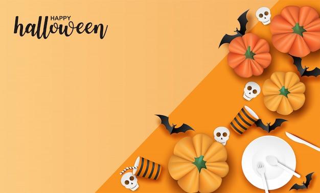 Wesołego halloween, zastawy stołowej, nietoperza i dyni na pomarańczowo