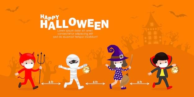 Wesołego halloweenowego przyjęcia dla nowych normalnych ślicznych małych grupowych dzieci ubranych w kostiumy na halloween sztuczka lub leczenie i noszenie maski na twarz i dystans społeczny chroń koronawirusa covid 19 banner