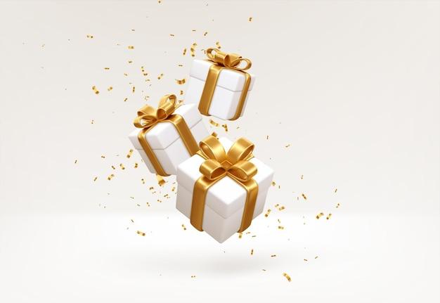 Wesołego nowego roku i wesołych świąt 2022 białe pudełka ze złotymi kokardkami i konfetti złote cekiny na białym tle. pudełka na prezenty latające i spadające. ilustracja wektorowa eps10
