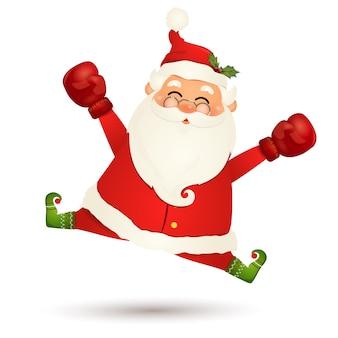 Wesołego świąt bożego narodzenia. ładny, zabawny mikołaj z czerwoną rękawicą bokserską podekscytowany na białym tle. mikołajki na ferie zimowe i noworoczne. szczęśliwy postać z kreskówki świętego mikołaja.