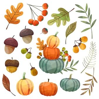 Wesołego święta dziękczynienia karta lub ulotka z orzechami, dynią i liśćmi klonu.