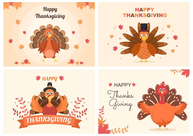 Wesołego święta dziękczynienia z kreskówki ilustracji wektorowych indyka