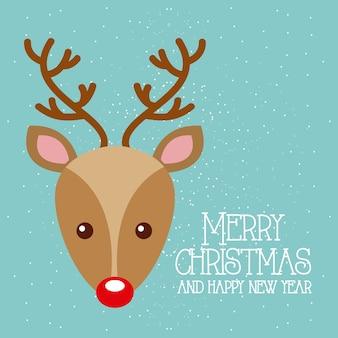 Wesoło boże narodzenia i szczęśliwego nowego roku śliczny jeleni czerwony nos