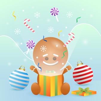 Wesoło boże narodzenia ilustracyjni z ślicznym ciastkiem