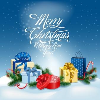 Wesoło bożych narodzeń i szczęśliwego nowego roku kartka z pozdrowieniami wektoru ilustracja.