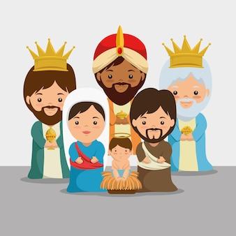 Wesoło bożych narodzeń narodzenie jezusa scena z świętą rodziną