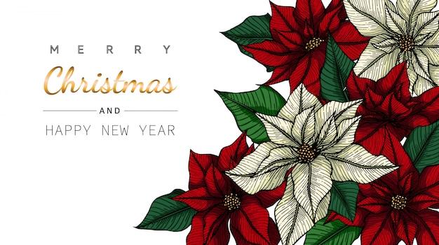 Wesoło bożych narodzeń, nowego roku tła i kartka z pozdrowieniami z rysunkową ilustracją kwiat i liść.