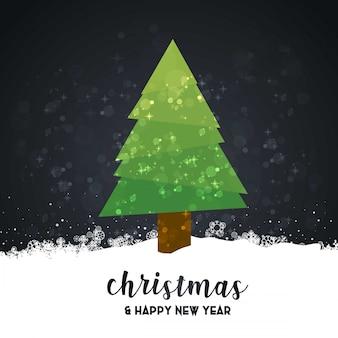 Wesoło kartka bożonarodzeniowa z ciemnym tłem i typografia wektorem