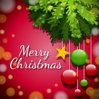 Wesoło kartka bożonarodzeniowa z ornamentami na drzewie