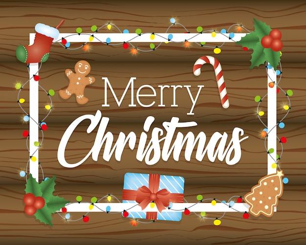Wesoło kartka bożonarodzeniowa z rzeczami na drewnie