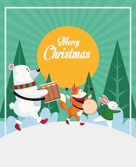 Wesoło kartka bożonarodzeniowa ze zwierzętami bawić się instrumentów wektorowego ilustracyjnego projekt