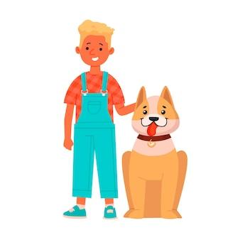 Wesoły chłopiec z psem. szczęśliwe dziecko ze swoim zwierzakiem na białym tle