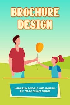 Wesoły człowiek daje balonik do szablonu broszury dziewczynka