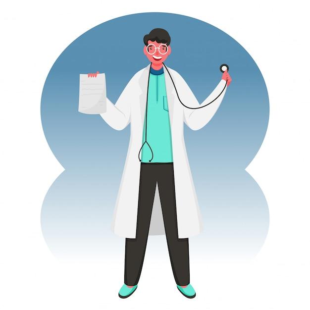 Wesoły człowiek lekarz posiadający stetoskop z receptą lub raportem na abstrakcyjnym tle.