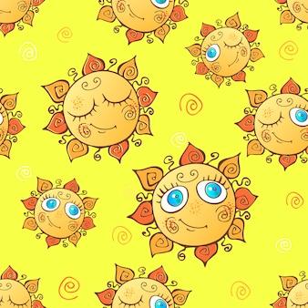 Wesoły dzieci bez szwu wzór ze słońcem.