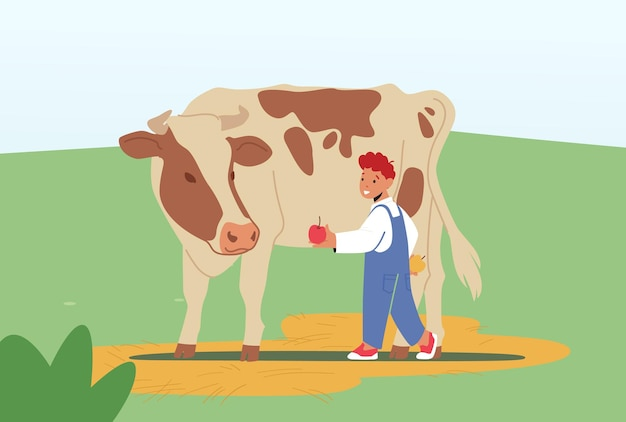Wesoły dziecko karmienia krowa w gospodarstwie lub na świeżym powietrzu w parku zoologicznym. mały chłopiec daje jabłko cielęciu. postać dziecka spędzać czas w parku zwierząt w wolnym czasie w weekend. ilustracja kreskówka wektor