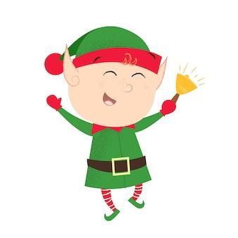 Wesoły elf dzwoni dzwonek