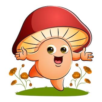 Wesoły grzyb tańczy w ogrodzie ilustracji