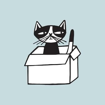 Wesoły kot siedzi w pudełku kartonowym na jasnoniebieskim tle