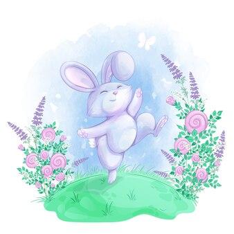 Wesoły królik skacze wśród pięknych kwiatów na zielonej łące.