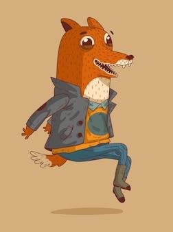 Wesoły lisek ubrany w sweter i kurtkę unoszącą się w powietrzu