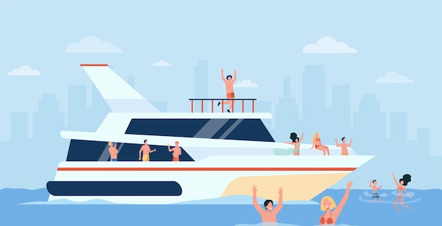 Wesoły ludzie żeglujący na luksusowej łodzi na białym tle płaskie ilustracja.