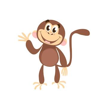 Wesoły małpa macha ręką