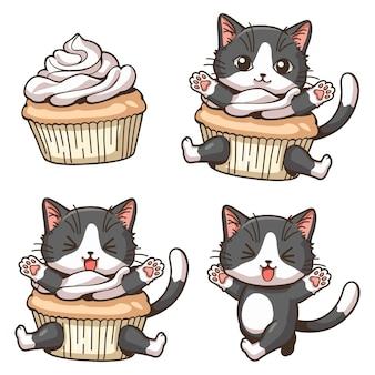 Wesoły mały kot i babeczki ilustracja kreskówka wektor ładny charakter kreskówka w stylu kawaii