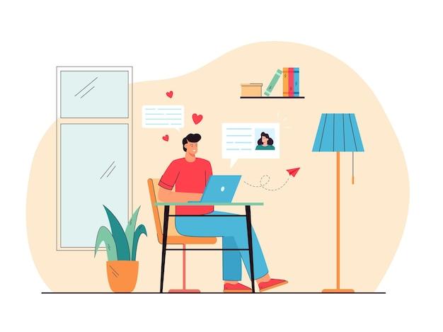 Wesoły mężczyzna randki z kobietą online płaskie ilustracja
