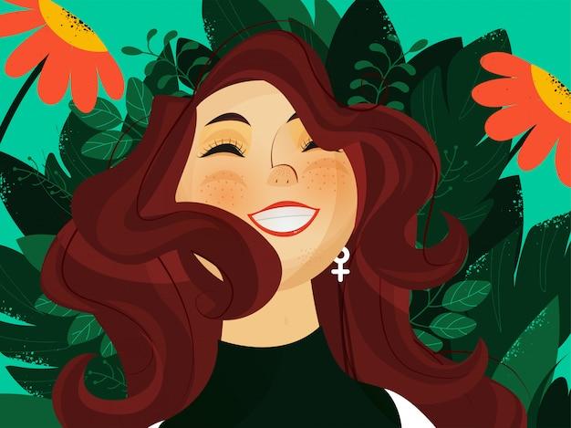 Wesoły młoda dziewczyna postać na zielonym tle widok przyrody.